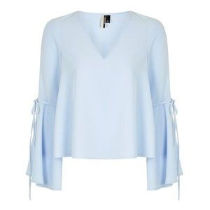 TOPSHOP Baby Blue Trumpet Sleeve Blouse